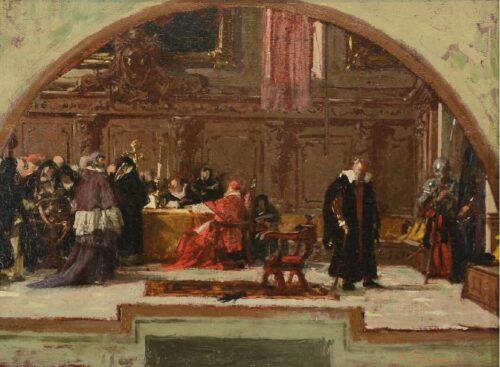 Nicolò Barabino, Galileo Galilei al tribunale dell'Inquisizione, 1872 ca., olio su tavola, cm 21 x 30, firmato in basso a destra