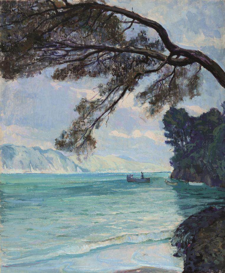Emilio Bocciardo, Libeccio nel golfo, 1933, olio su tela, cm 45,5 x 38
