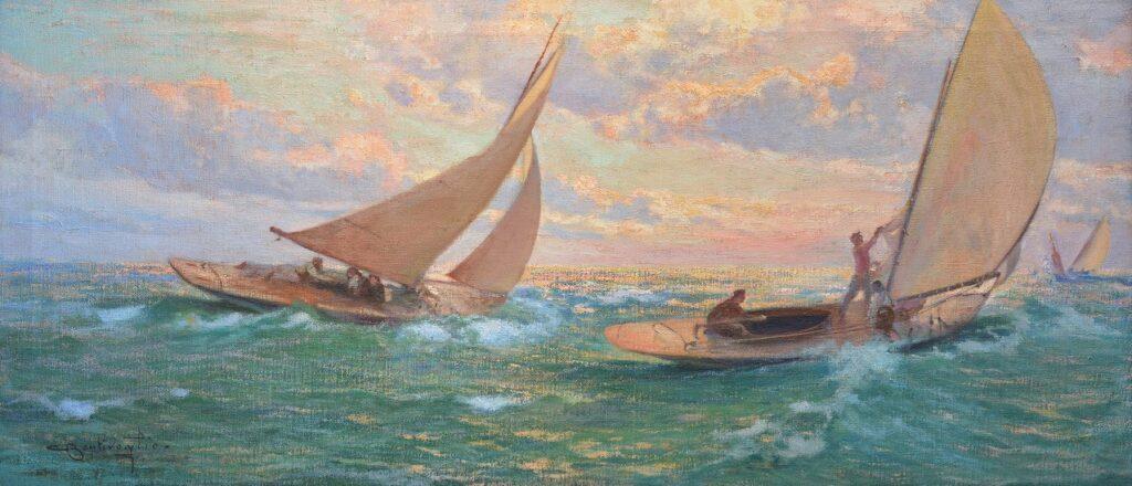 Cesare Bentivoglio, Regata, 1910 ca., olio su tela, cm 52 x 16