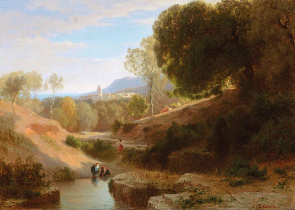 Antonio Fontanesi, Paesaggio ligure, olio su tela, cm 47 x 66