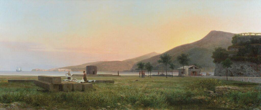 Tammar Luxoro, Il Golfo di Spezia, 1870 ca., olio su tela, cm 75 x 175