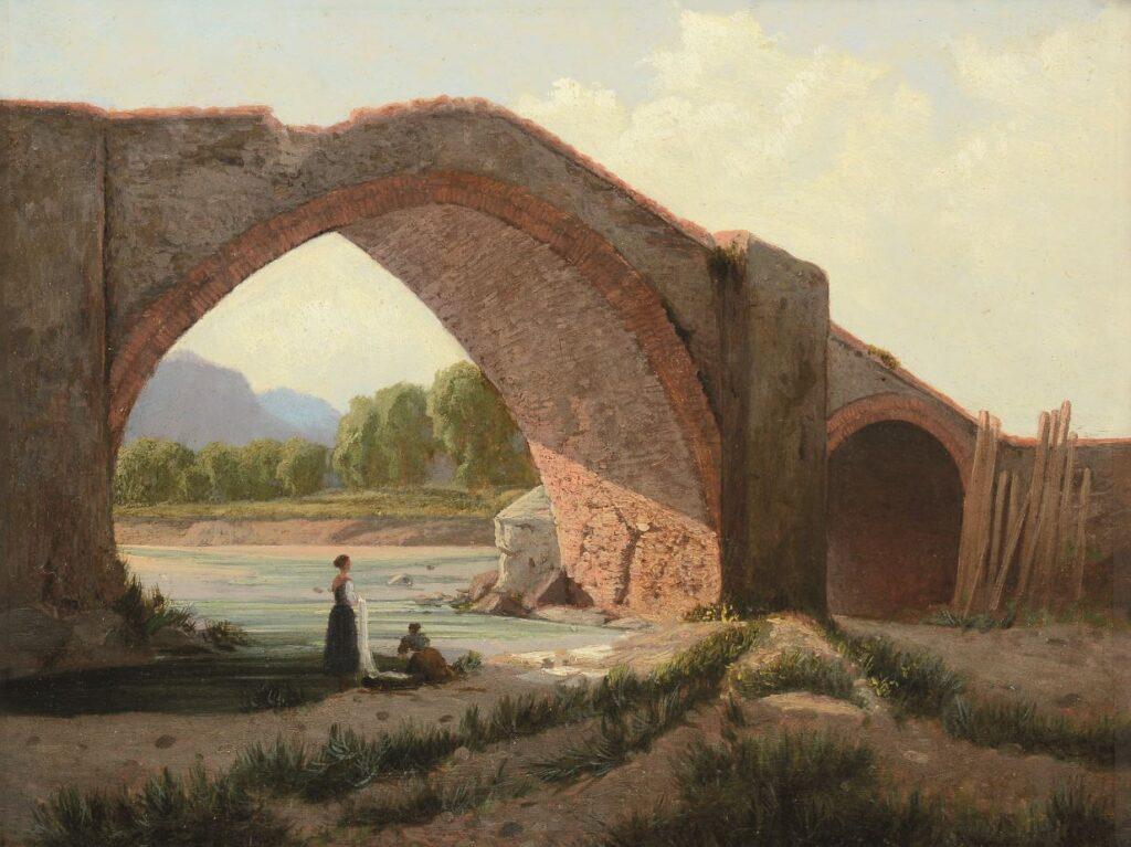 Tammar Luxoro, Lavandaie al fiume, 1860 ca., olio su cartone, cm 24,5 x 32