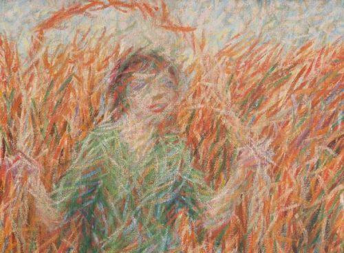 Giuseppe Cominetti, Ragazza che salta la corda, olio su tela, dettaglio