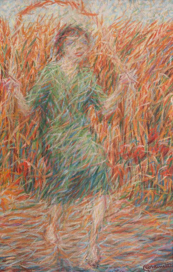 Giuseppe Cominetti, Ragazza che salta la corda, olio su tela